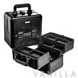 Sephora Embossed Traincase Medium Black Faux Croc